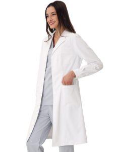 白衣 レディース 女性用 細身 ノンアイロン 柔らかい生地 実験用 長袖 (M)